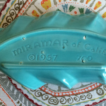 Vintage 1950's Miramar of California Pottery Turquoise Dish