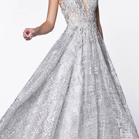 Glitter Ball Gown Silver With Lace Bodice Details And Plunging Neckline