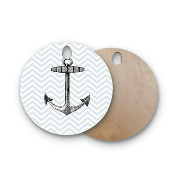 "Suzanne Carter ""Anchor"" Black Blue Round Wooden Cutting Board"