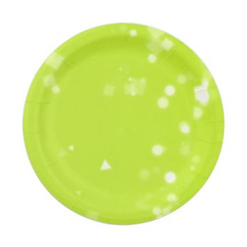 Lime Green Confetti Background Paper Plates