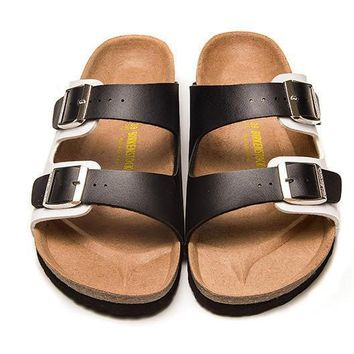 2017 Birkenstock Summer Fashion Leather Cork Flats Beach Lovers Slippers Casual Sandals For Women Men Couples Slippers color black&white size 36-45
