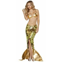 Sexy Sequins Mermaid Shell Top Halloween Costume