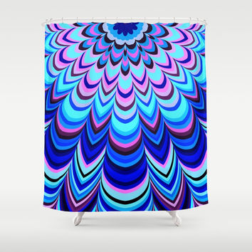 Neon blue striped mandala Shower Curtain by Natalia Bykova
