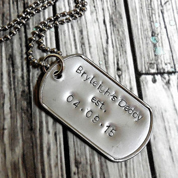 New Daddy Personlized Stainless Steel Dog Tag Necklace With Stainless Steel Chain /New Daddy Stainless Steel Dog Tag Necklace