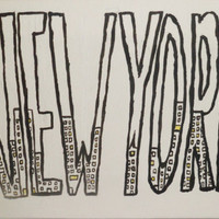 New York Modern Minimalistic Painting Black by poptartsandjelly