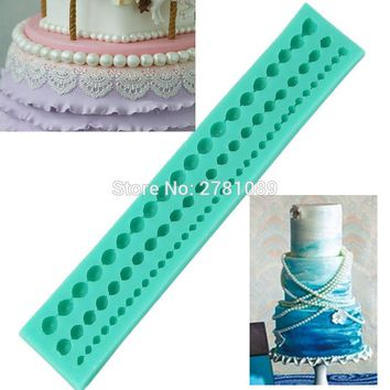 Silicone 3 Strings Of Pearl Cake Pearl Fondant Sugar Paste Bead Mold Clay Mould Decorating Random kitchen accessories