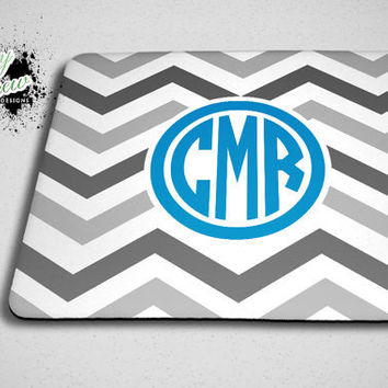 Monogram Chevron Grey and Blue Mouse Pad - Custom Mousepad Accessory