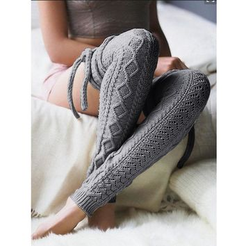 Criss Cross Knitted Over The Knee Thigh Socks - Women Leg Warmers High Socks