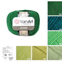 YarnArt JEANS green pattern yarn, 55% cotton yarn, crochet cotton yarn knitting supplies, scarf yarn, sock yarn, sweater yarn, knit yarn