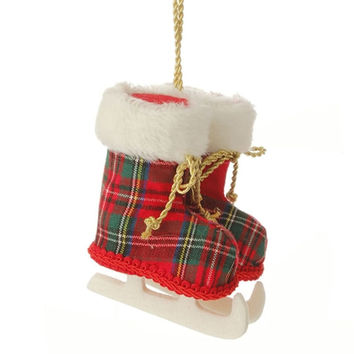Town Square Red Plaid Ice Skate Ornament with Faux Fur Cuffs and Gold Fabric Laces 5-in