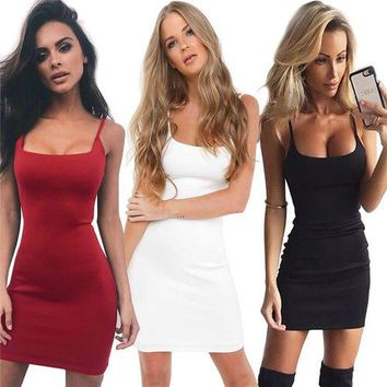 Summer Ladies Pure Color Camisole Dress Slim Fit Short Dress Bodycon Sexy Dress Package Hip Dress Party Dress Evening Dress Casual Fashion Mini Dress