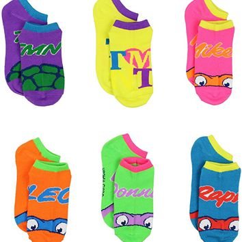 TMNT Teenage Mutant Ninja Turtles Womens Girls 6 pack Ankle Socks (Little Kid/Big Kid/Teen/Adult)