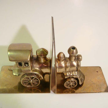 Vintage Brass Train Bookends San Pacific San Fransico Book Ends Railroad