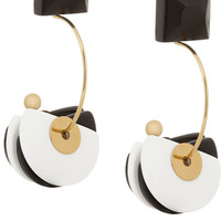 Marni - Gold-plated, horn and resin clip earrings