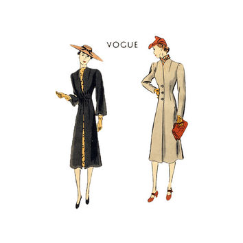 1950s Misses Vogue Redingote Coat Vintage Sewing Pattern Collarless Long Coat Fitted Waist Size 18 Bust 36 Vogue 7939