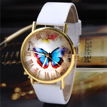 Ladies' Women's Vintage Elegant Butterfly Style Leather Band Analog Quartz Wrist Watch [8322970497]