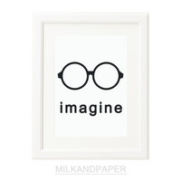 Imagine Black and White  8x10 Typography print by MILKANDPAPER