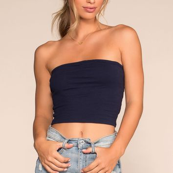 Alera Tube Crop Top - Navy