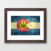Retro Colorado State flag with the leaf - Marijuana leaf that is! Framed Art Print by Bruce Stanfield