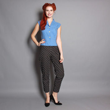 60s POLKA DOT Pinup PANTS / Classic Rockabilly Pedal Pushers, s