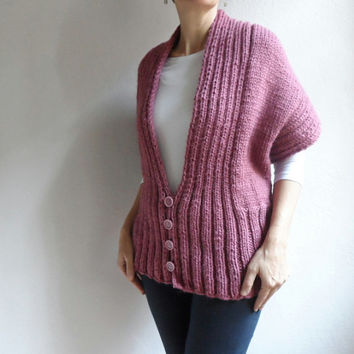 Womens Chunky Vest, Wool Vest in Pink, Long Sleeved Hand Knitted Shrug