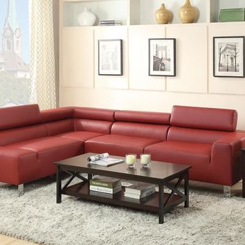 Bonded Leather 2 Piece Sectional In Red