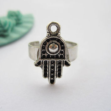 ring---antique silver HAMSA pendant,alloy adjustable ring
