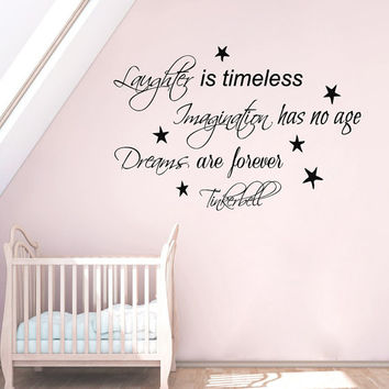 Tinkerbell Wall Decals Quote Laughter Is Timeless Imagination Has No Age Vinyl Decal Sticker Interior Baby Kids Nursery Room Decor KG889