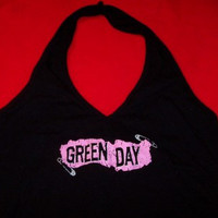 Green Day Halter Top Safety Pin Logo Black Size Medium