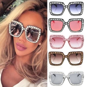 New Women Dazzling Color Sunglasses Square Frame Fashion Solid Color High Quality Oversized Bling Exquisite Sunglasses