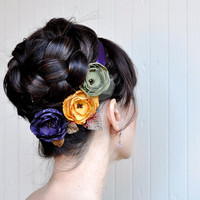 Plum mustard and sage fall hair clips bouquet by TutusChicBoutique