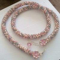 Peach, ivory, and gray 23 inch bead crochet necklace | JRPDesigns - Jewelry on ArtFire