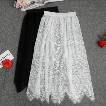 Women Floral Lace Petticoat Hollow Underskirt Black / White Slips Half Slip Underskirt Long Underdress Summer Dress CZL8408