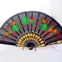 Sequined Embroidered Hand Fan Red Floral on Black Silk Fabric Vintage Collectible Gift Item 2236