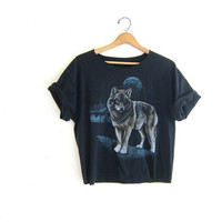 Vintage Cropped Wolf TShirt. Grunge Cut Off Shirt. Cut Off Tee Shirt.