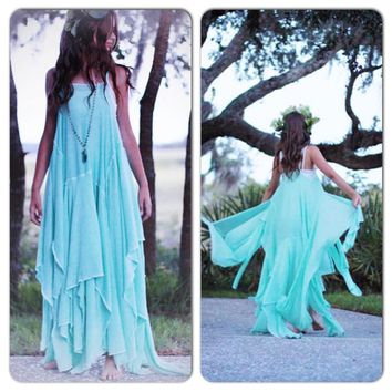 Festival maxi dress, Stevie Nicks gypsy soul woodland sundress, Romantic turquoise spell gypsy dress, Boho dress True Rebel Clothing S