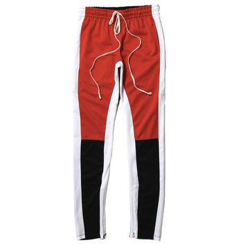 Color Block Track Pants Red / Black