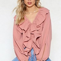 Pink Positive Ruffle Top