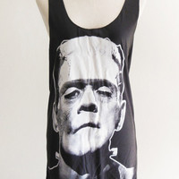 Frankenstein Classic Monster Horror Gothic Movie Skull Goth -- Frankenstein Shirt Women Tank Top Tunic Sleeveless Skull Shirt Size S , M