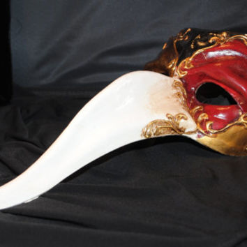 Mask, Zanni Italian Hand Painted, Capitan Scaramouche, Long Nose Venetian Masquerade Mask, Mardi Gras, White, Gold, Red & Black, Paper Mache