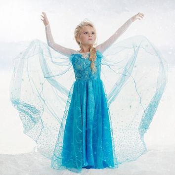 2017 Kids Elsa Costume Girls Long Sleeve Elsa Dress for Girls Princess Dress Halloween Cosplay Children Snow Queen Party Clothes