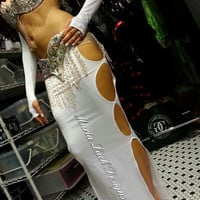 Long Sexy Belly dancing skirt with open sides with a pair of long gloves White or Black