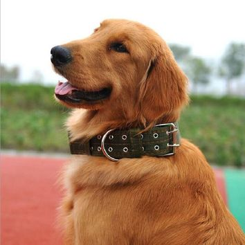 High Quality Big Size/Large Dog Collar Brief Pattern Pet Collar For Golden Retriever/Husky/Rottweiler/Shepherd/Caastro