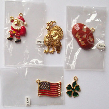 Set of 5 Phister Enamel Holiday Charms - St Patrick's Day, Christmas, Thanksgiving, Halloween, July 4 - Vintage