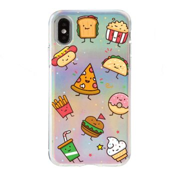 Holographic iPhone Case Cover - Kawaii Junk Food