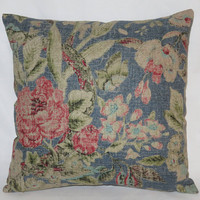 """Royal Blue & Red Floral Pillow, Waverly After Glow Indigo, Pink, Aqua, 17"""" Sq Linen Blend,  Zipper Cover Only or Insert Incl, Ready Ship"""