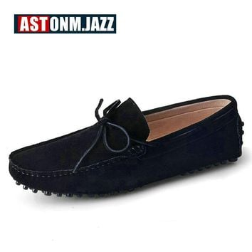 Men's Suede Leather Penny Loafers Breathable Driver Shoes Slip-on Flat Shoes Men's Fashion Boat Shoe Mens Casual Shoes For Men