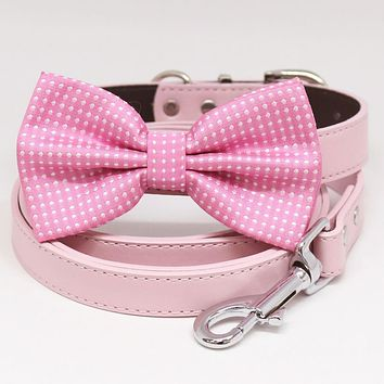 Pink Polka Dots Bow tie Dog collar leash, Puppy gift, Pet Wedding, Love Pink