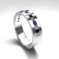 WidePalladium wedding band with blue sapphires and diamonds, men's wedding band, blue sapphire ring, modern, half eternity, men blue wedding