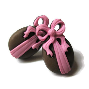 Chocolate Easter Egg Stud Earrings, Brown and Pink, Choice of Silver Toned or Hypoallergenic Surgical Steel Posts